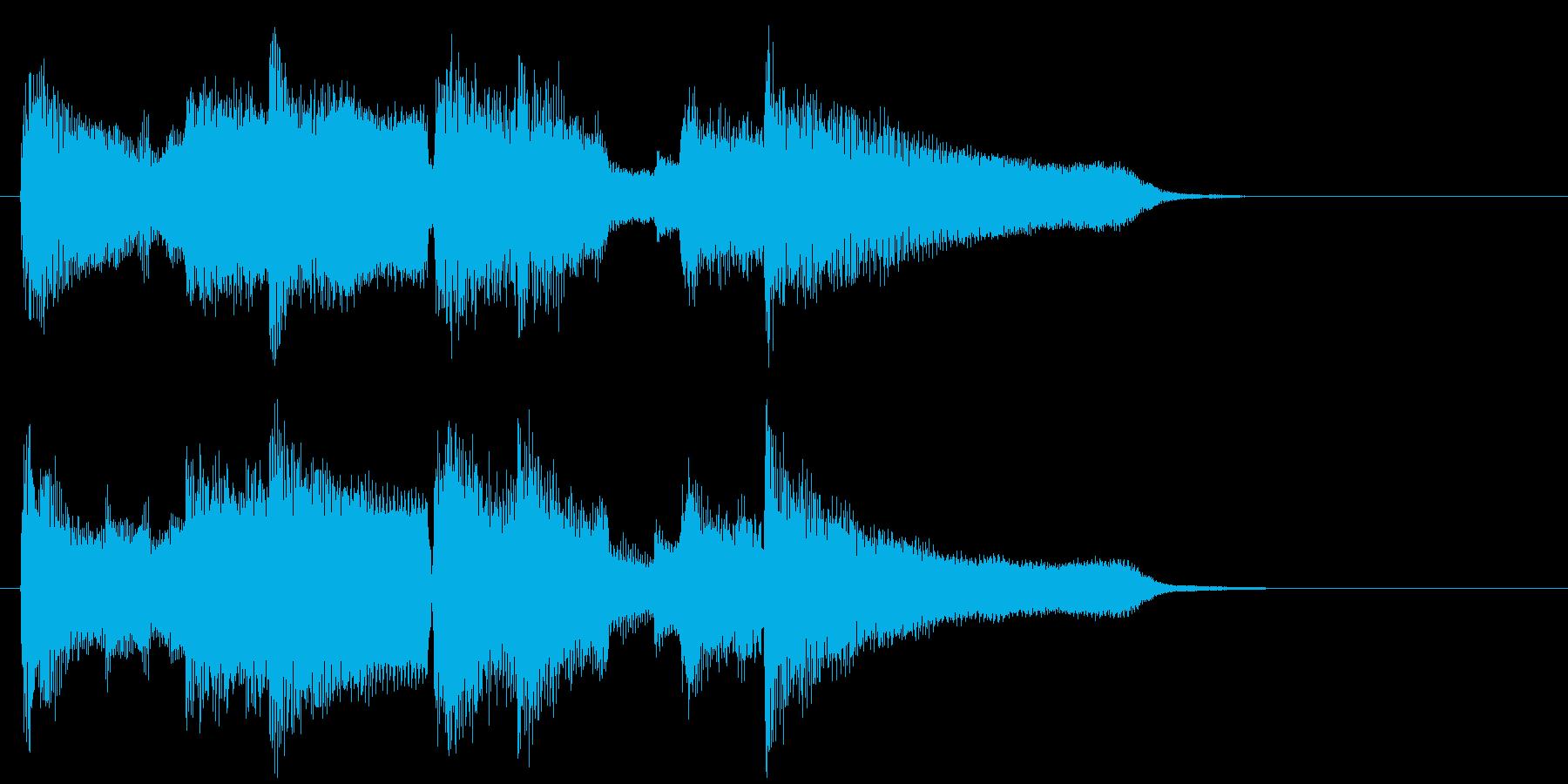昔のアニメの終わり際っぽい素朴なジングルの再生済みの波形