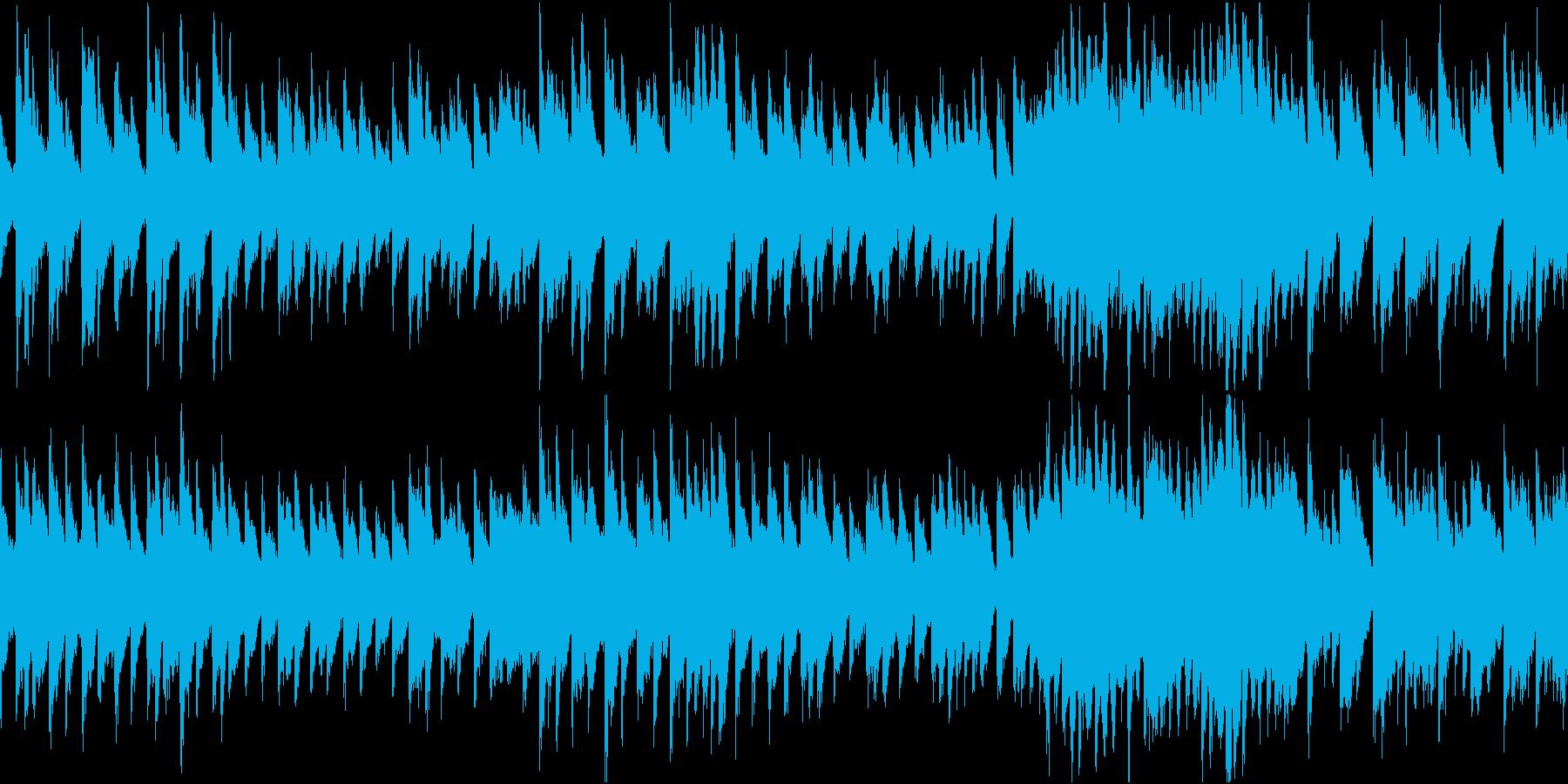 おどけた楽しい感じのピアノソロのテーマ曲の再生済みの波形