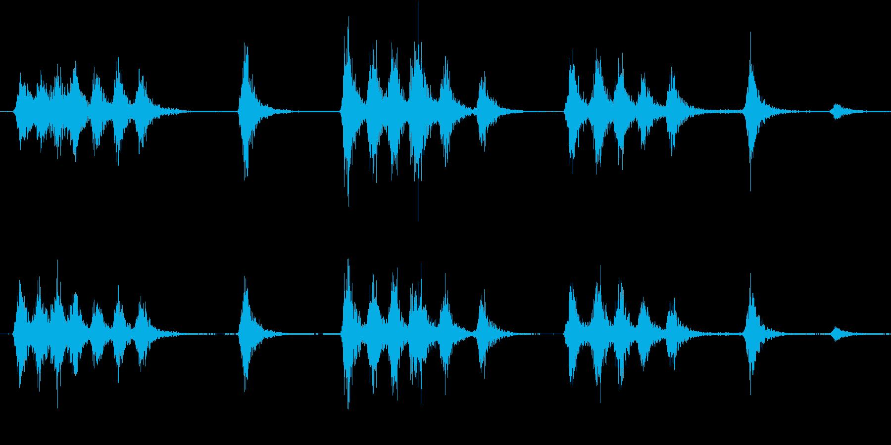 ワンワン(夜の街での犬の鳴き声)の再生済みの波形