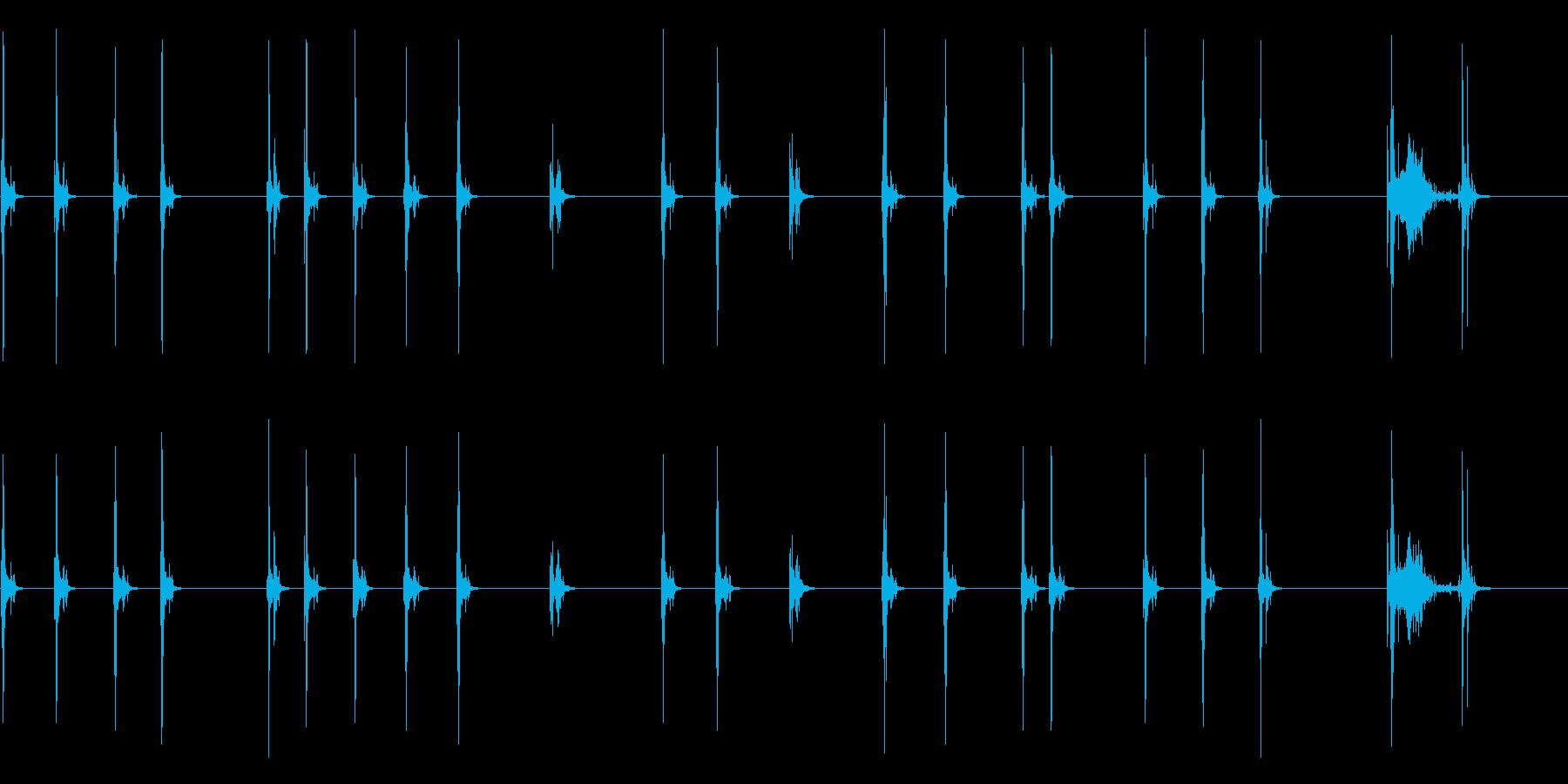 【タイプライターを打つ】ゆっくりとの再生済みの波形