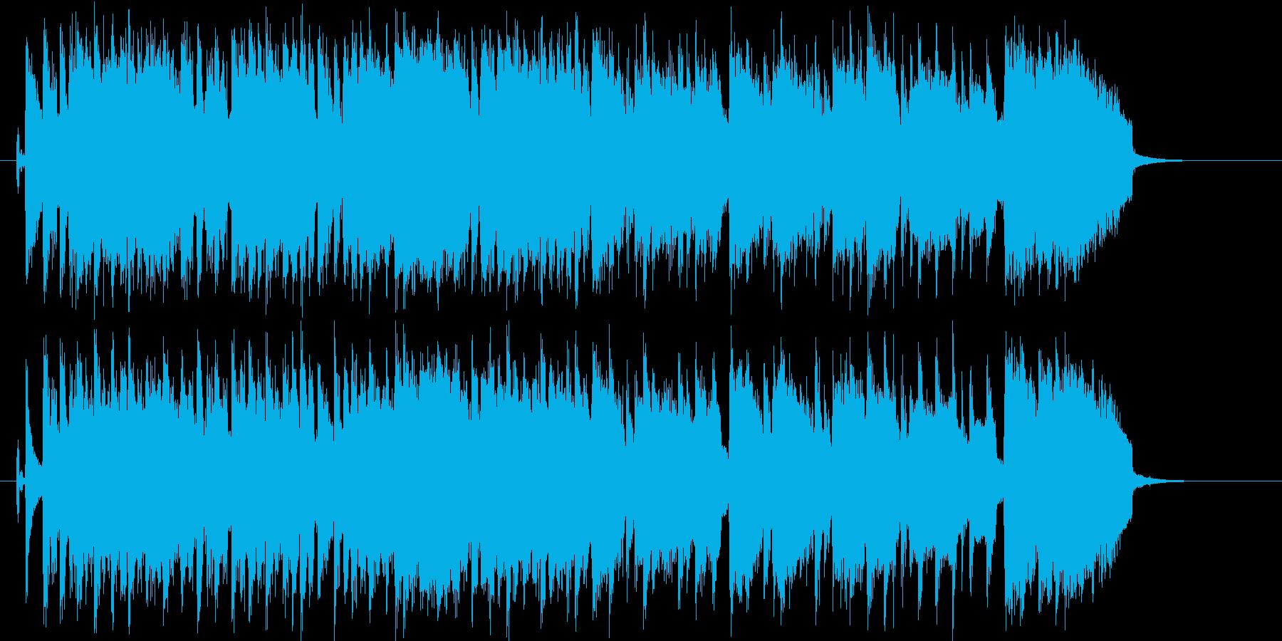 エレキギターがパワフルなロックバンド曲の再生済みの波形