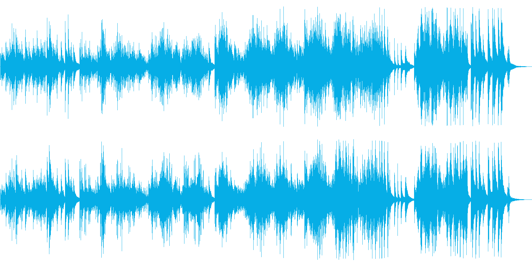 広がりのあるしっとりとしたピアノBGMの再生済みの波形