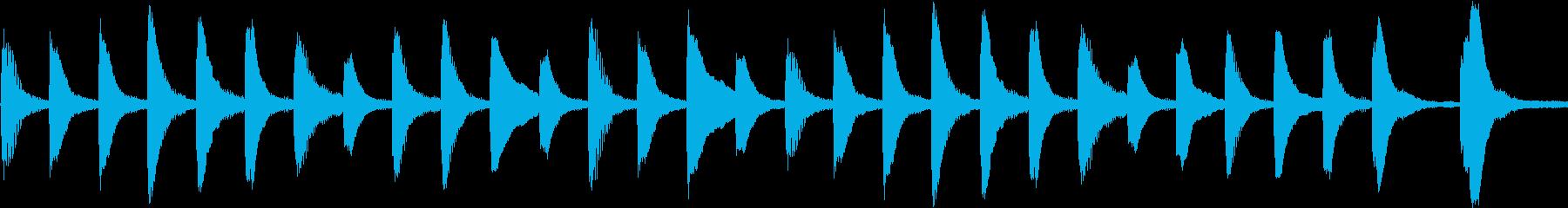 ループできるピアノのほのぼのメロディの再生済みの波形
