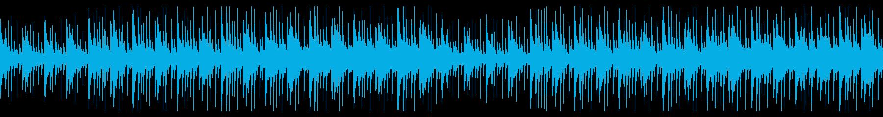 パーカッションの効いた民族音楽風BGMの再生済みの波形