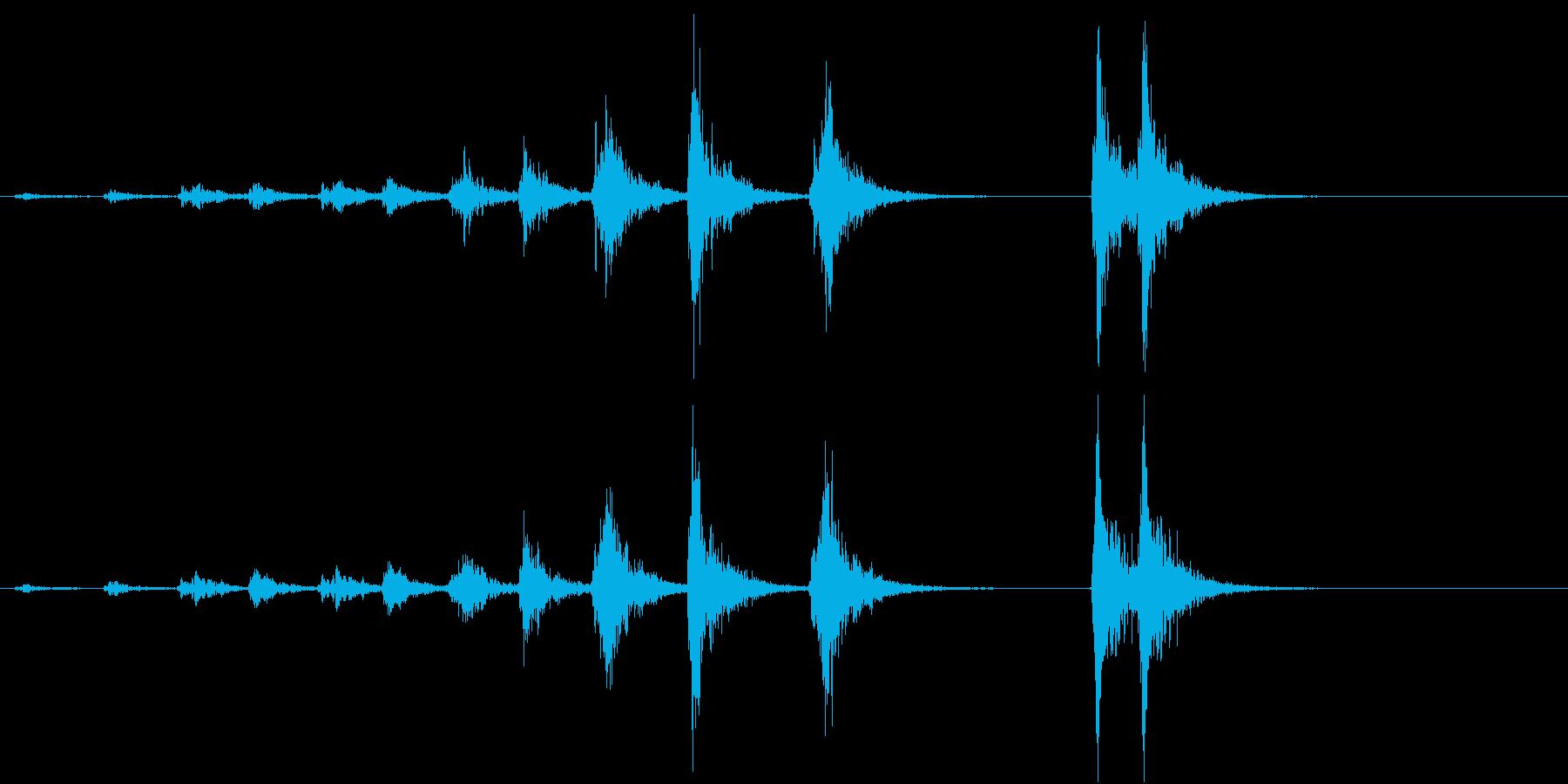 「ドドド・・ドン」歌舞伎の足拍子の連打音の再生済みの波形