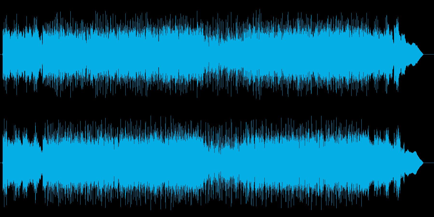 激しい小刻みなギターのロックの曲の再生済みの波形