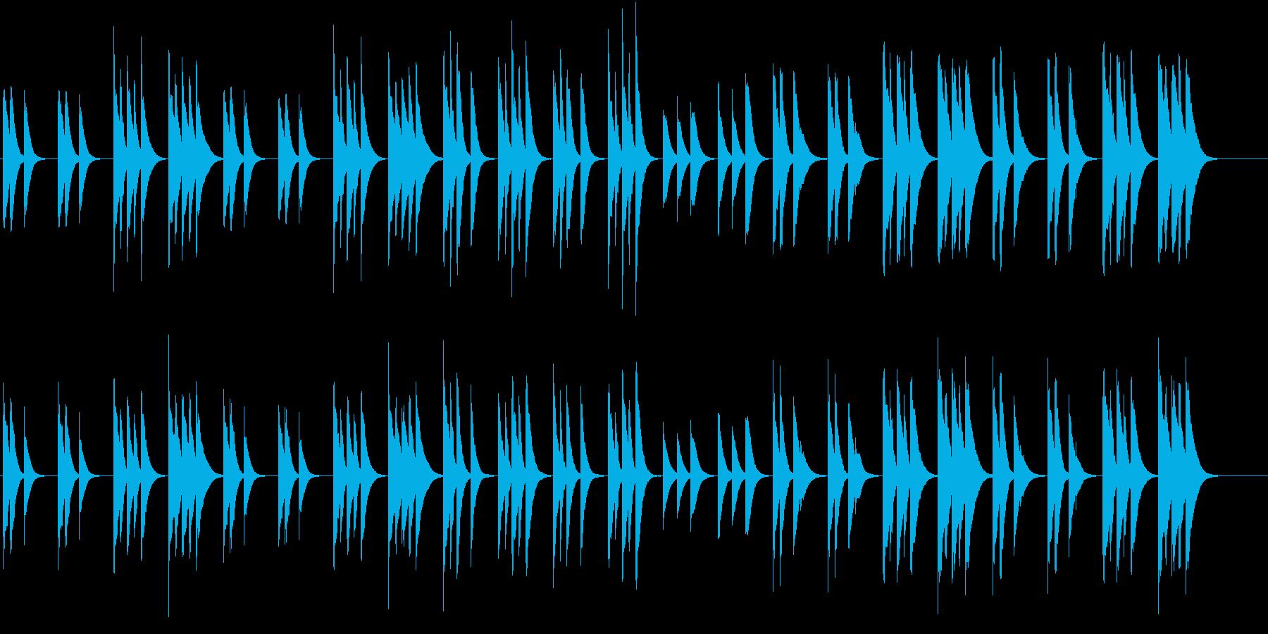 木琴の音で作ったのんびりした短い曲の再生済みの波形