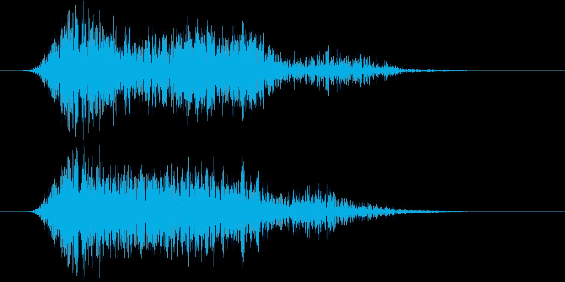 水中に勢いよく入るような音の再生済みの波形