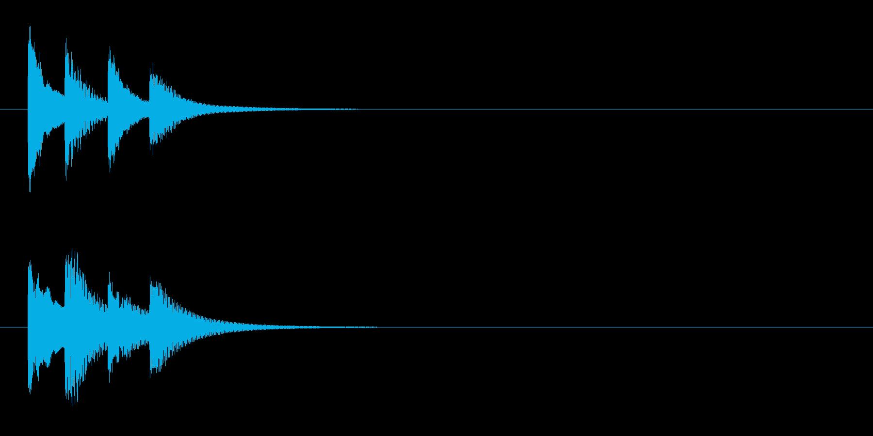 邦楽囃子の小さな鉦、松虫のフレーズ音の再生済みの波形