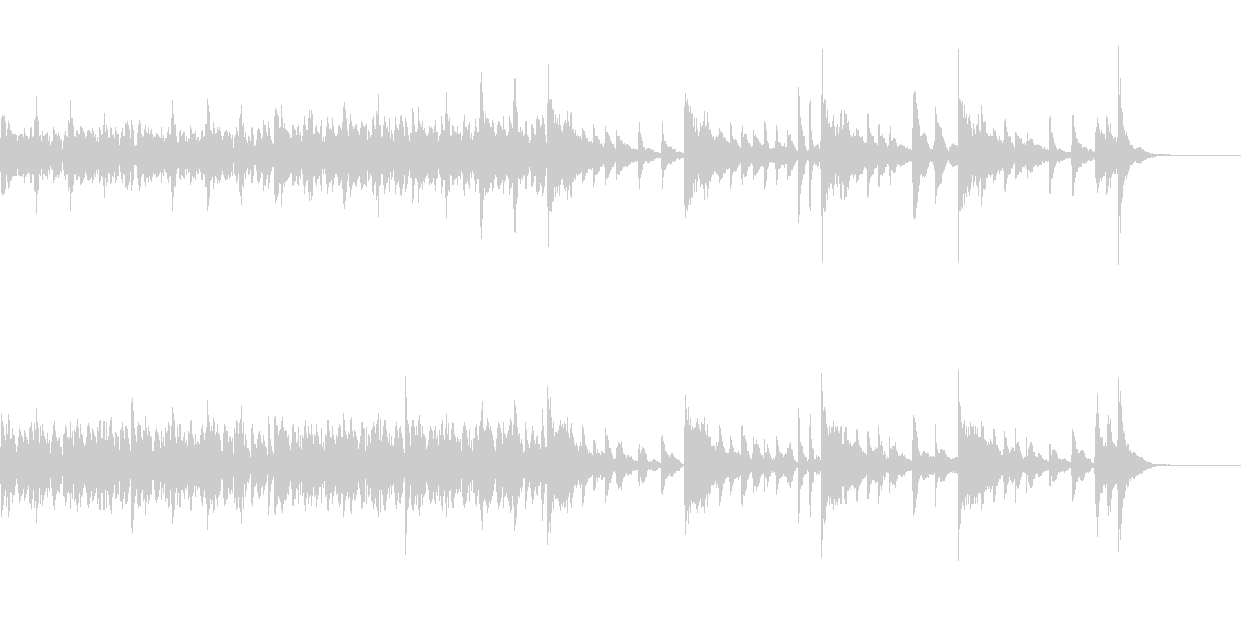 短いピアノ100BPM・3拍子の未再生の波形