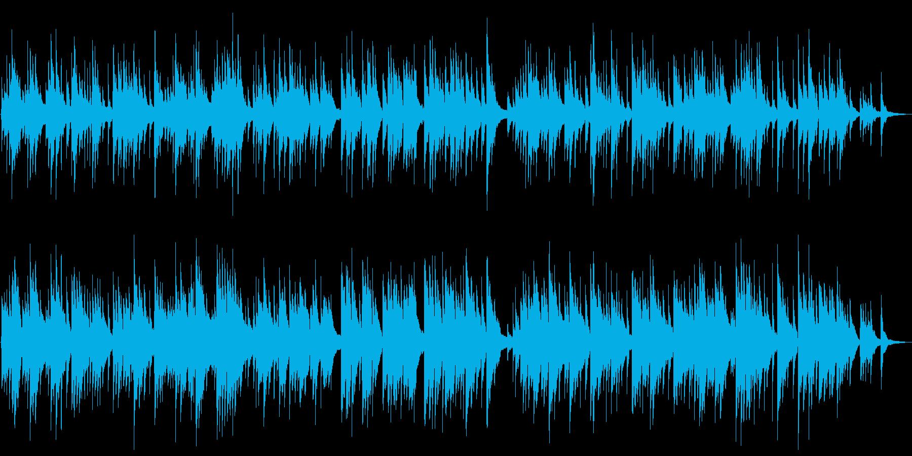 ゆったりした琴とピアノの和風楽曲の再生済みの波形