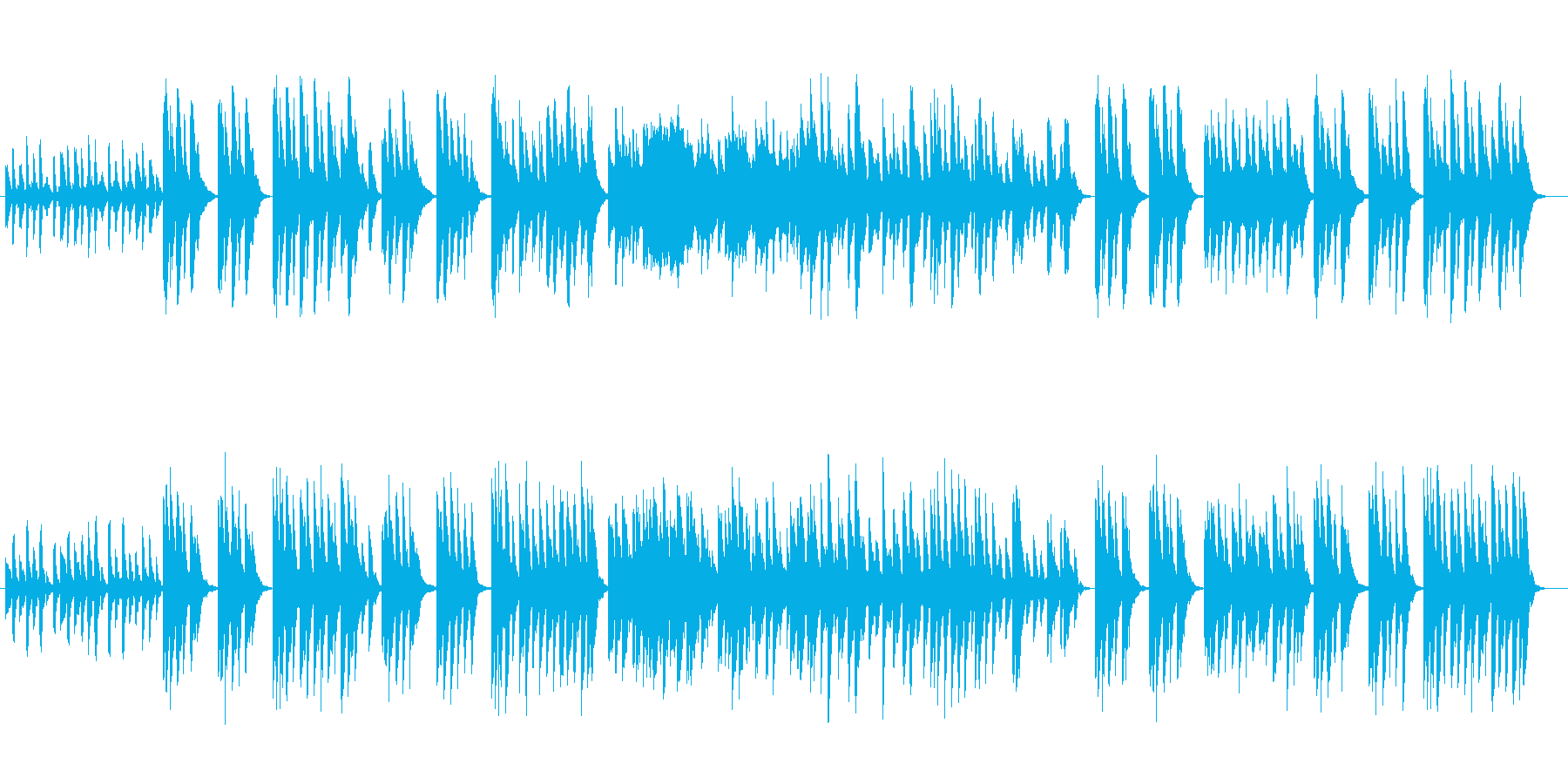 ピアノとシロフォンの可愛くのんびりした曲の再生済みの波形