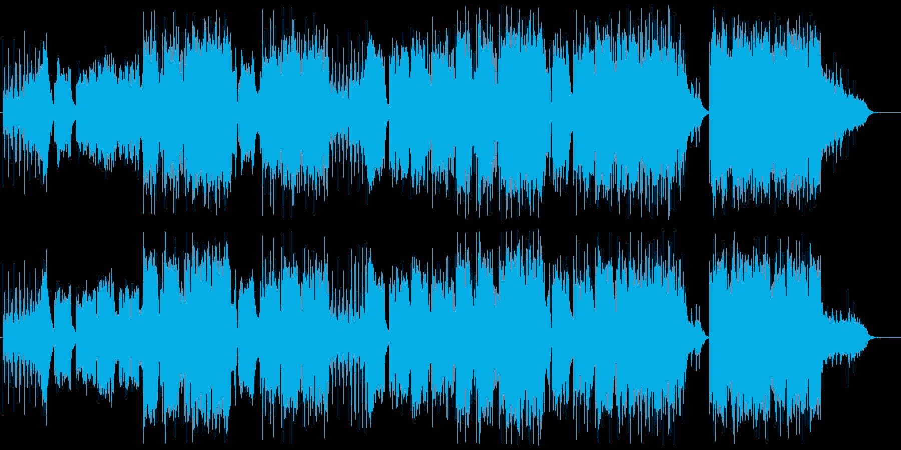 民族楽器の笛を生で収録した和風曲の再生済みの波形