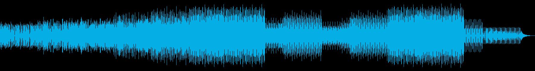 シンセドラムによる激しいビートBGMの再生済みの波形