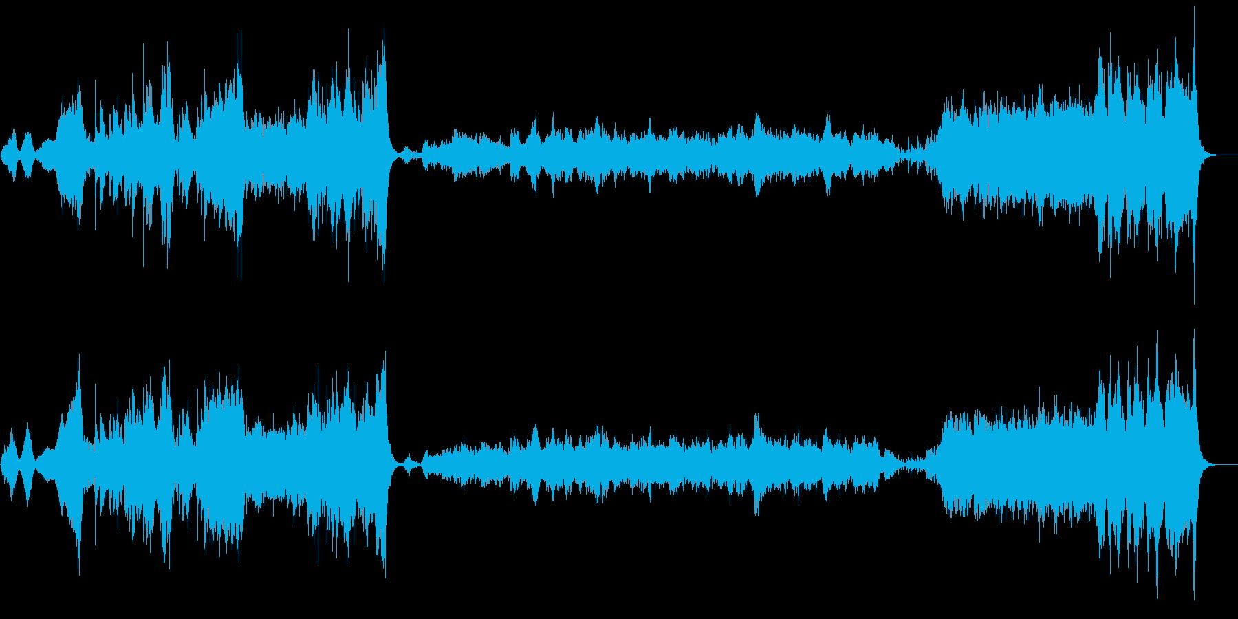 大河ドラマのような和風オーケストラ楽曲の再生済みの波形