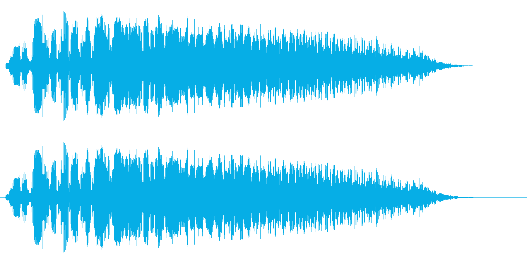 ビユゥ〜(大きい音に変わっていく音)の再生済みの波形
