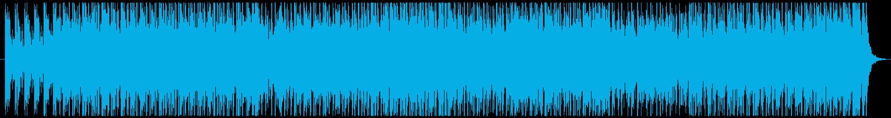 軽快なリズムと効果音で疾走感のあるテクノの再生済みの波形