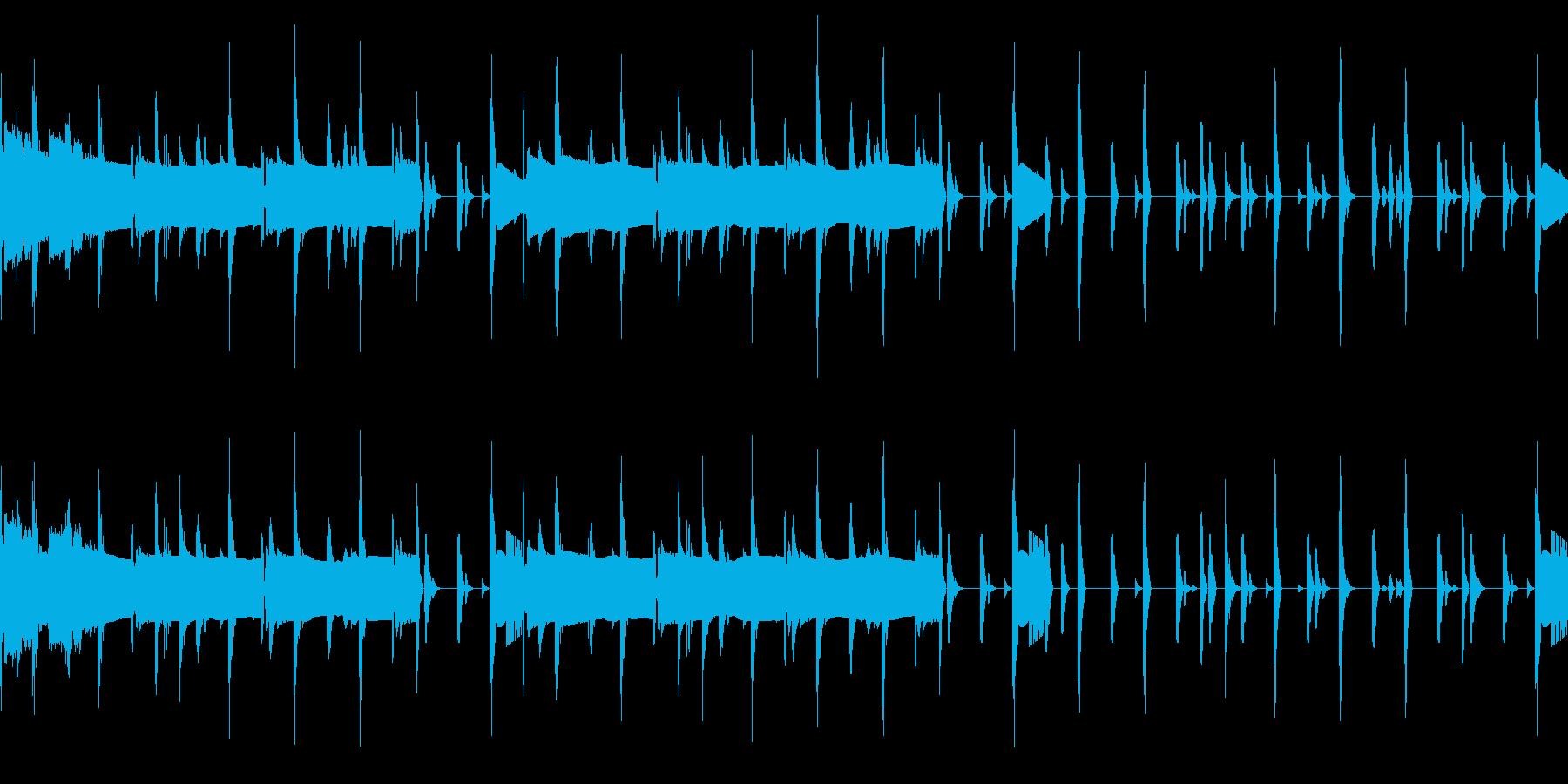 ドラムとベースのループ素材の再生済みの波形