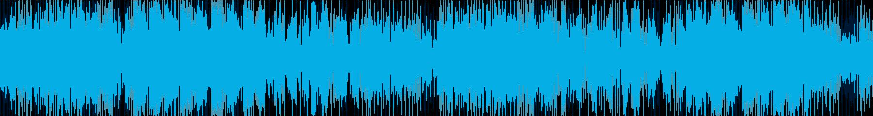 ミステリアスな雰囲気のゲームBGMループの再生済みの波形