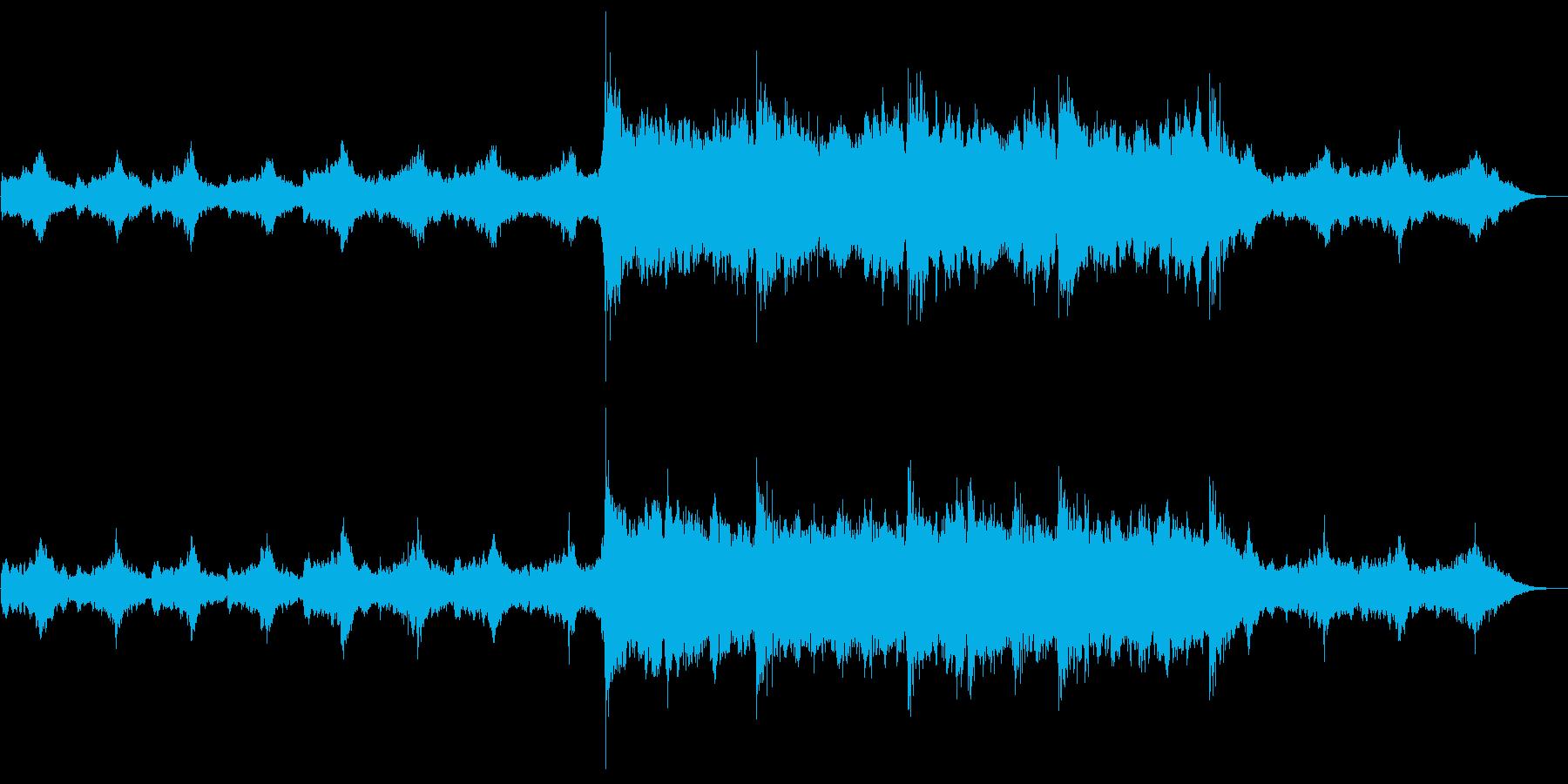 宇宙系SF映画音楽風の荘厳で幻想的な曲の再生済みの波形