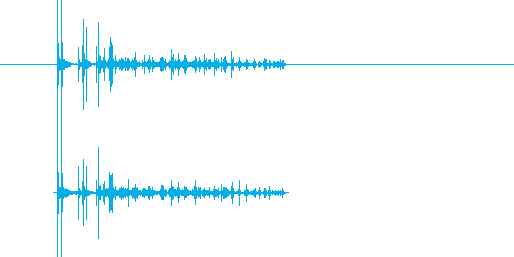 2つのコインが短めに回って静止する音の再生済みの波形
