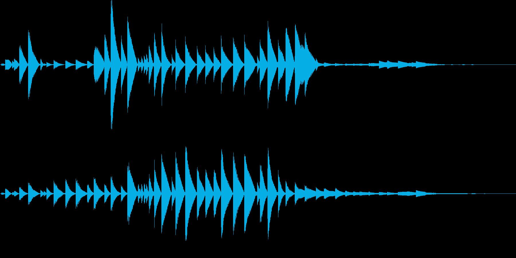 何かが転がるような効果音の再生済みの波形