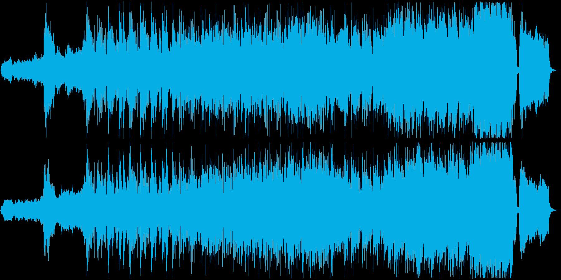 オープニングに適した緊迫感のあるBGMの再生済みの波形