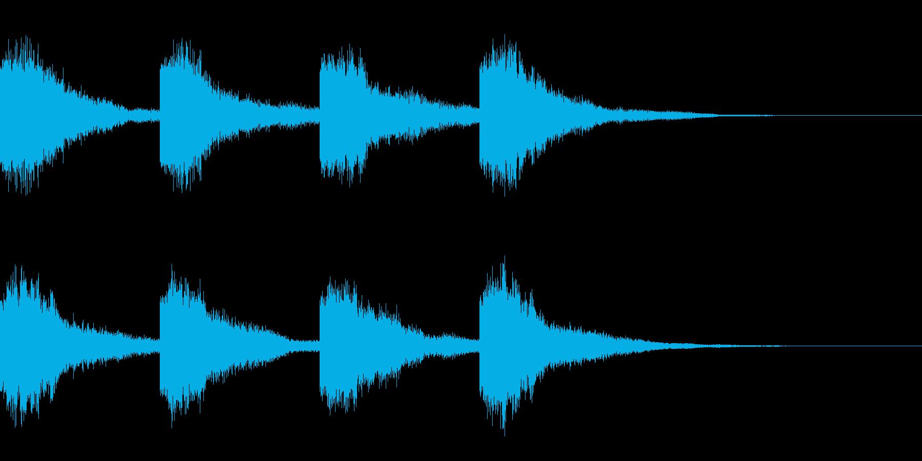 鐘の音(カーン×4)の再生済みの波形