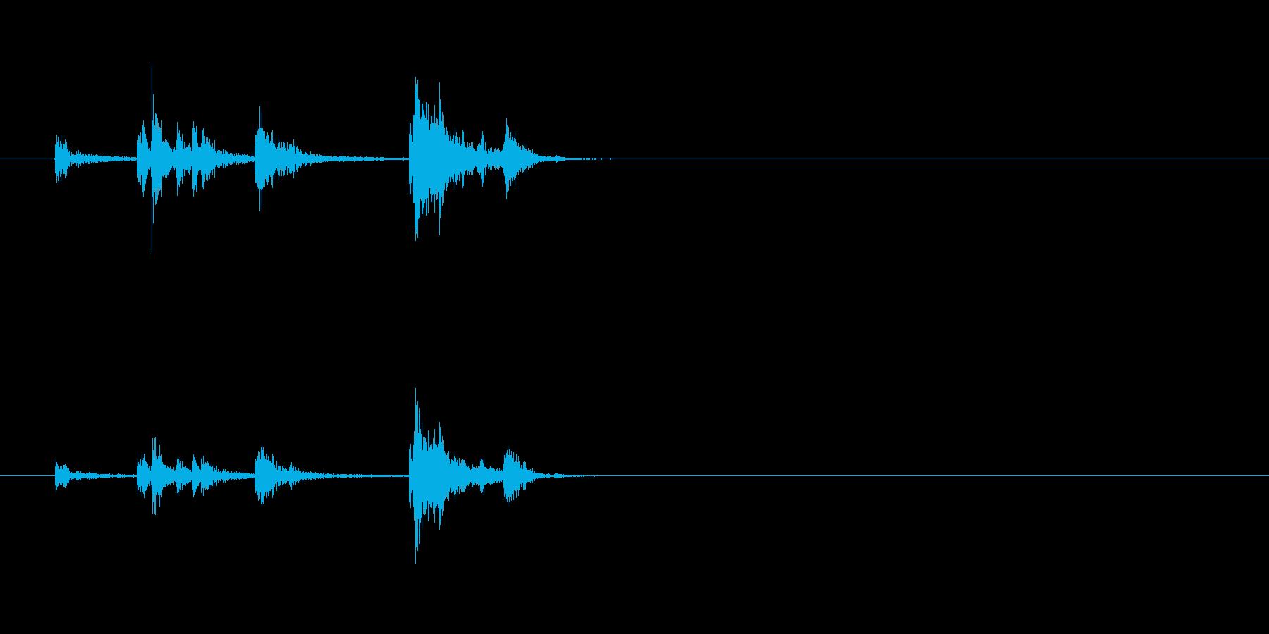 スチール缶貯金箱にお金を入れる音1発の再生済みの波形