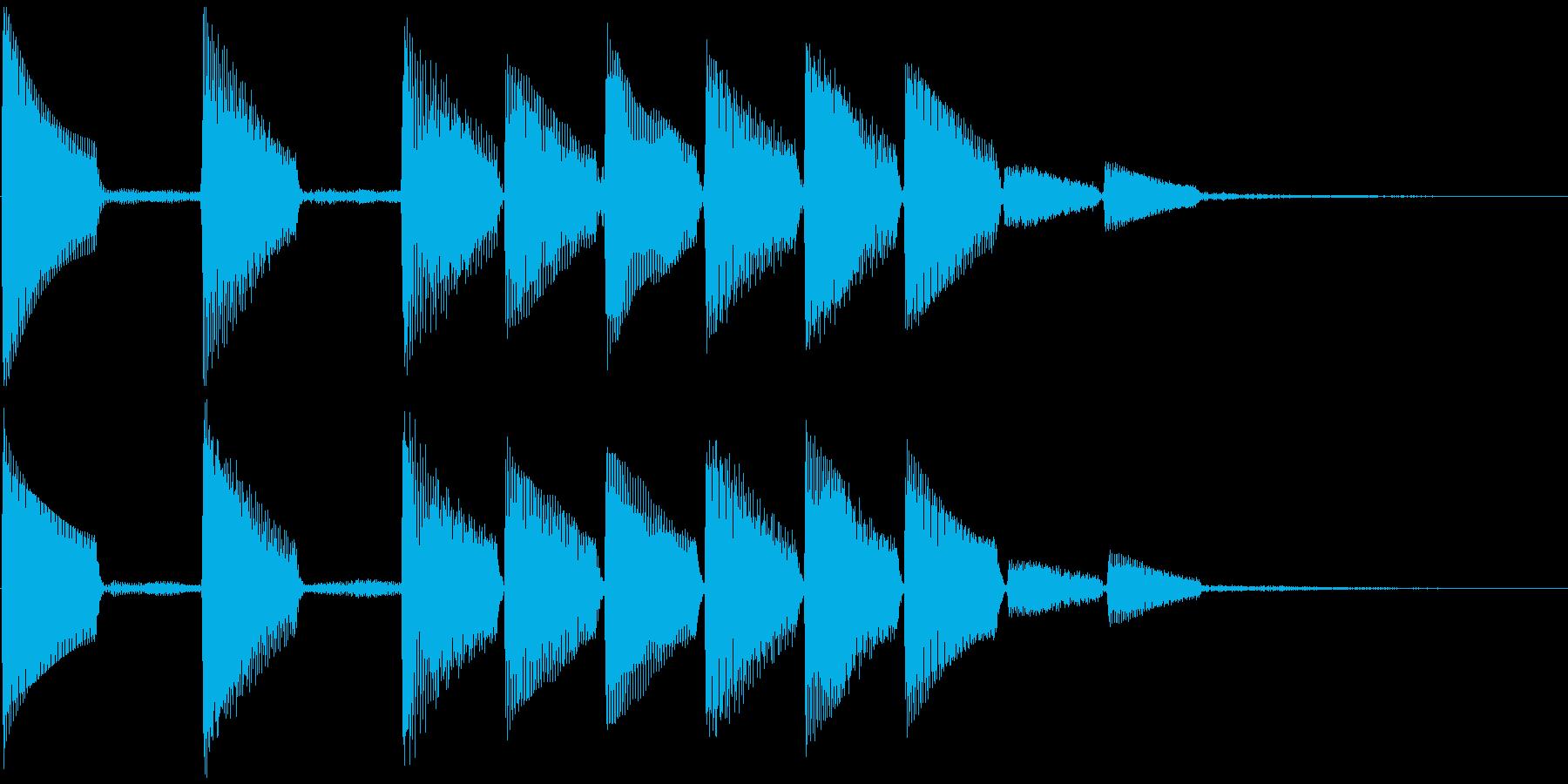 通知音・着信音風ジングル2(ループ)の再生済みの波形