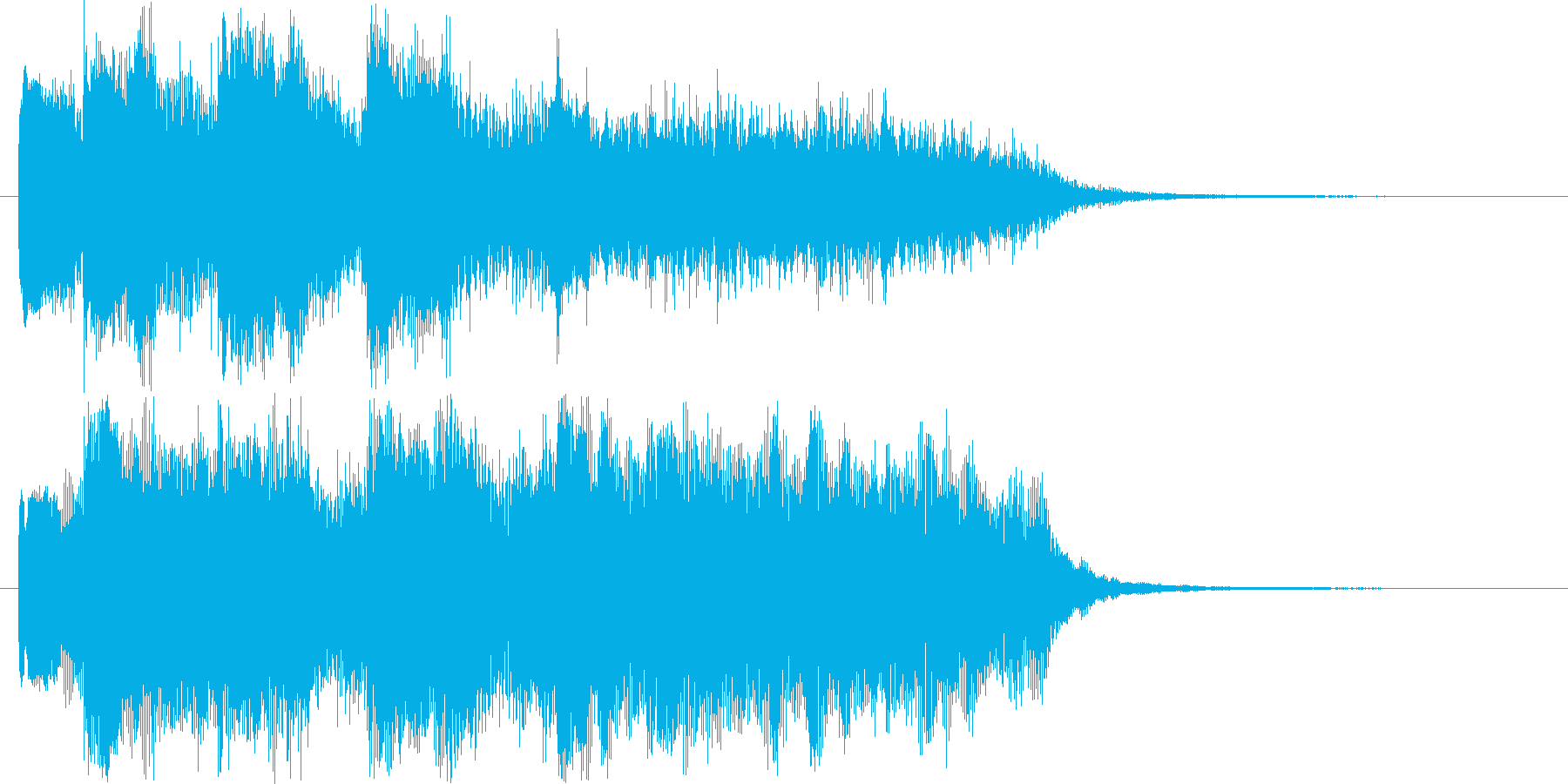 ゆっくりとした鐘の音のショート曲の再生済みの波形
