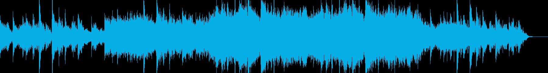 ループ可、癒し、ピアノ、弦楽、波と風音の再生済みの波形
