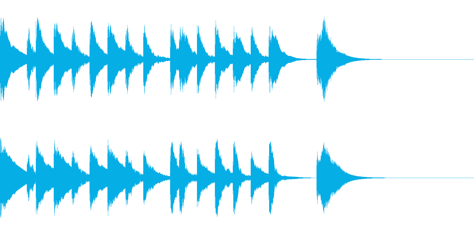 シロフォンのかわいい5秒ジングルの再生済みの波形