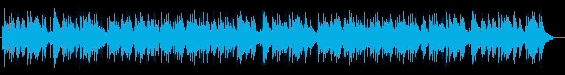 ピアノとパーカッションの温かみのある曲の再生済みの波形
