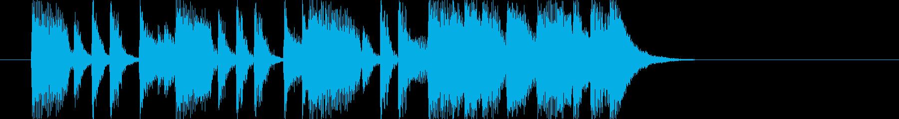 ワンステップ踏み出すような14秒の楽曲の再生済みの波形