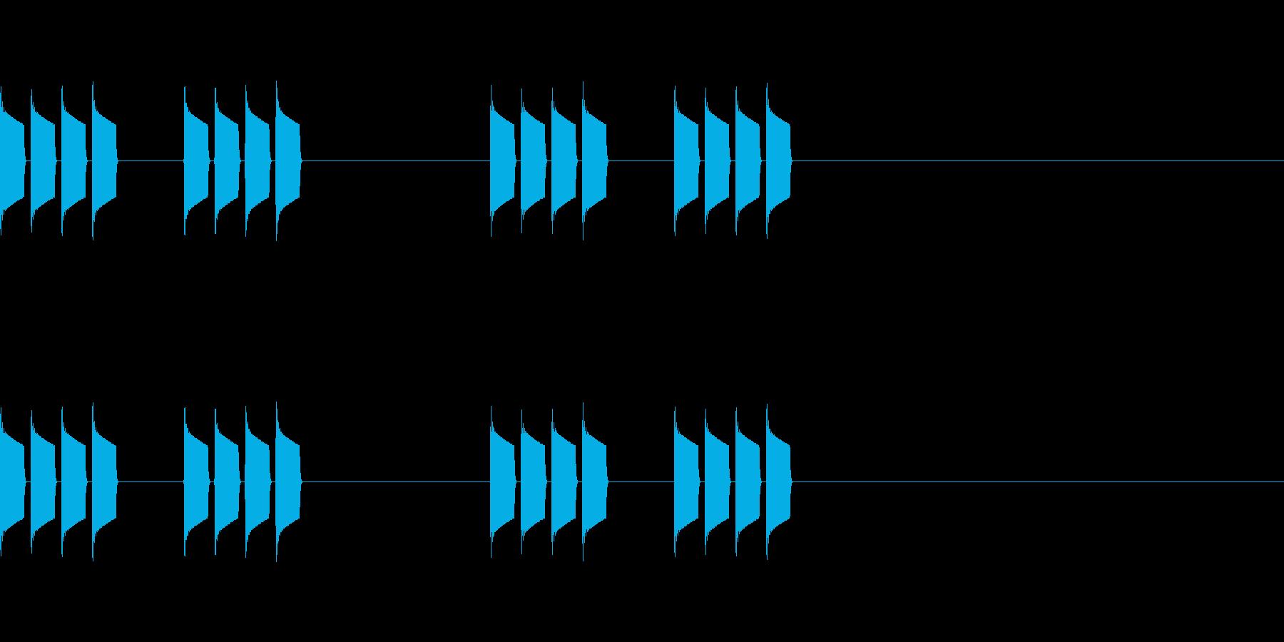 シンプルなアラーム音の再生済みの波形