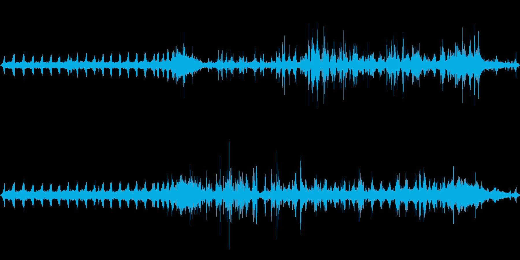 山で録ったカラスとセミの音の再生済みの波形