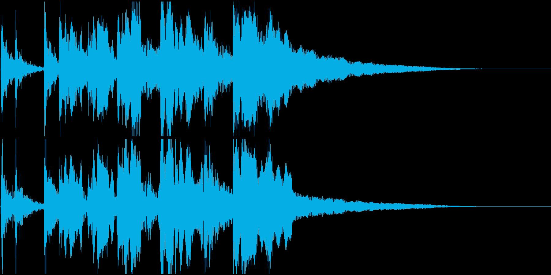 和風、笛と太鼓の囃子風ジングル2の再生済みの波形