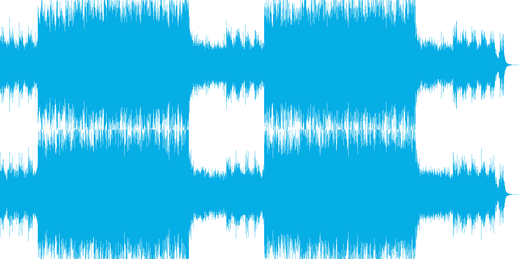 エレクトロなビート 激しい曲の再生済みの波形