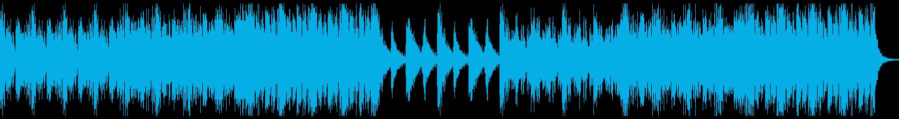 打楽器による躍動感のあるBGMの再生済みの波形