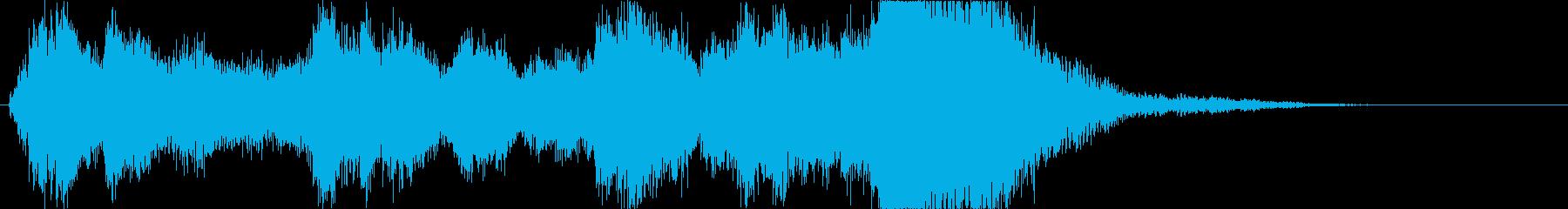 オーケストラによる壮大で明るいジングルの再生済みの波形