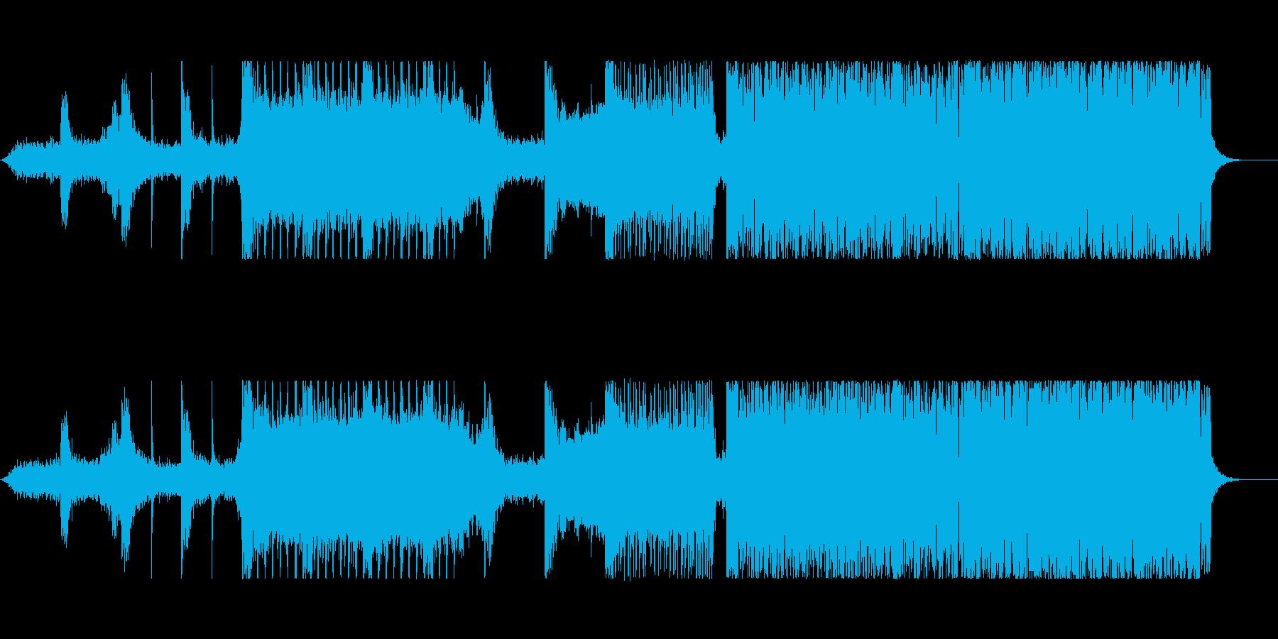 歪んだベース音が主体のドラムンベースの再生済みの波形