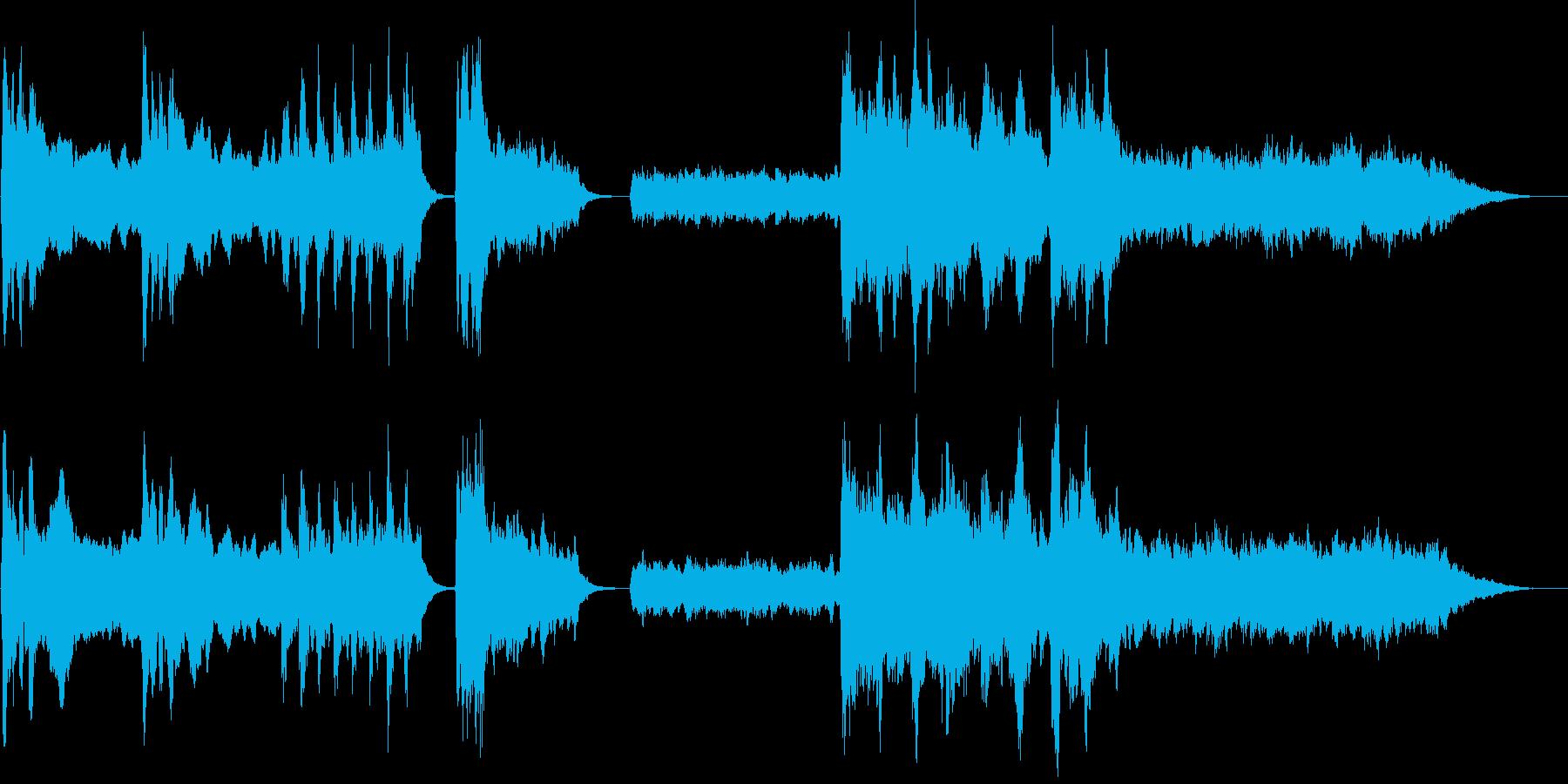 暗く不気味なホラー系ストリングスBGMの再生済みの波形
