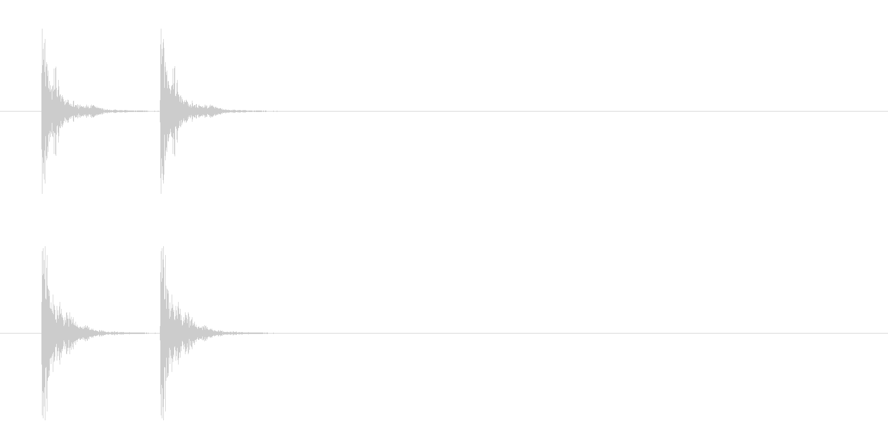 「カカン」木鉦(もくしょう)の連打音の未再生の波形