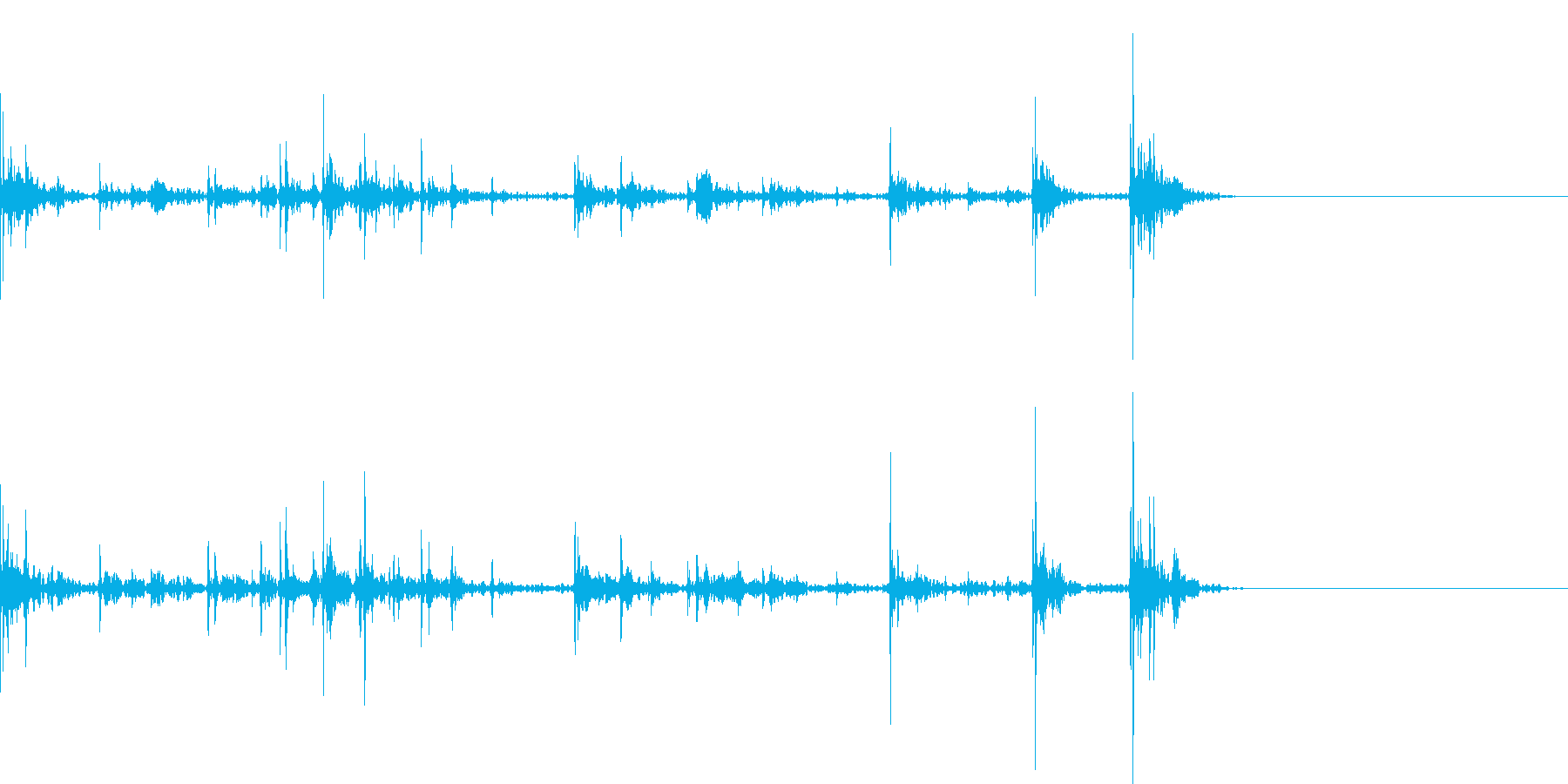 キーボードをタイピングするリアル効果音4の再生済みの波形