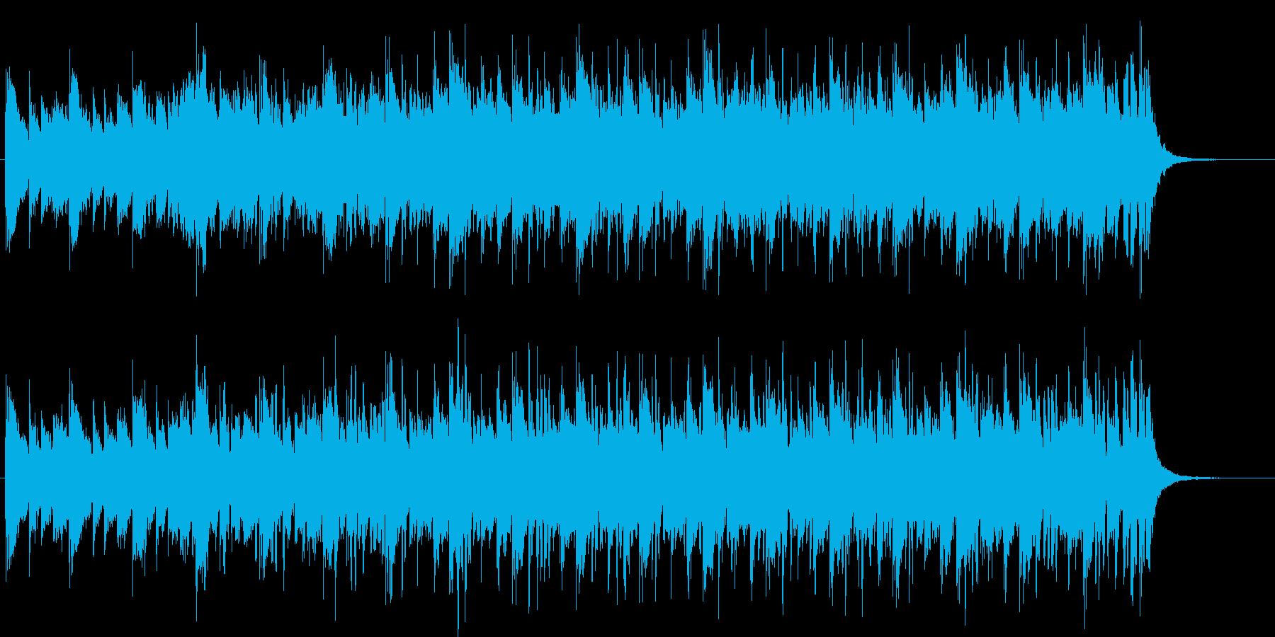 シンセサイザーによる近未来的な曲の再生済みの波形