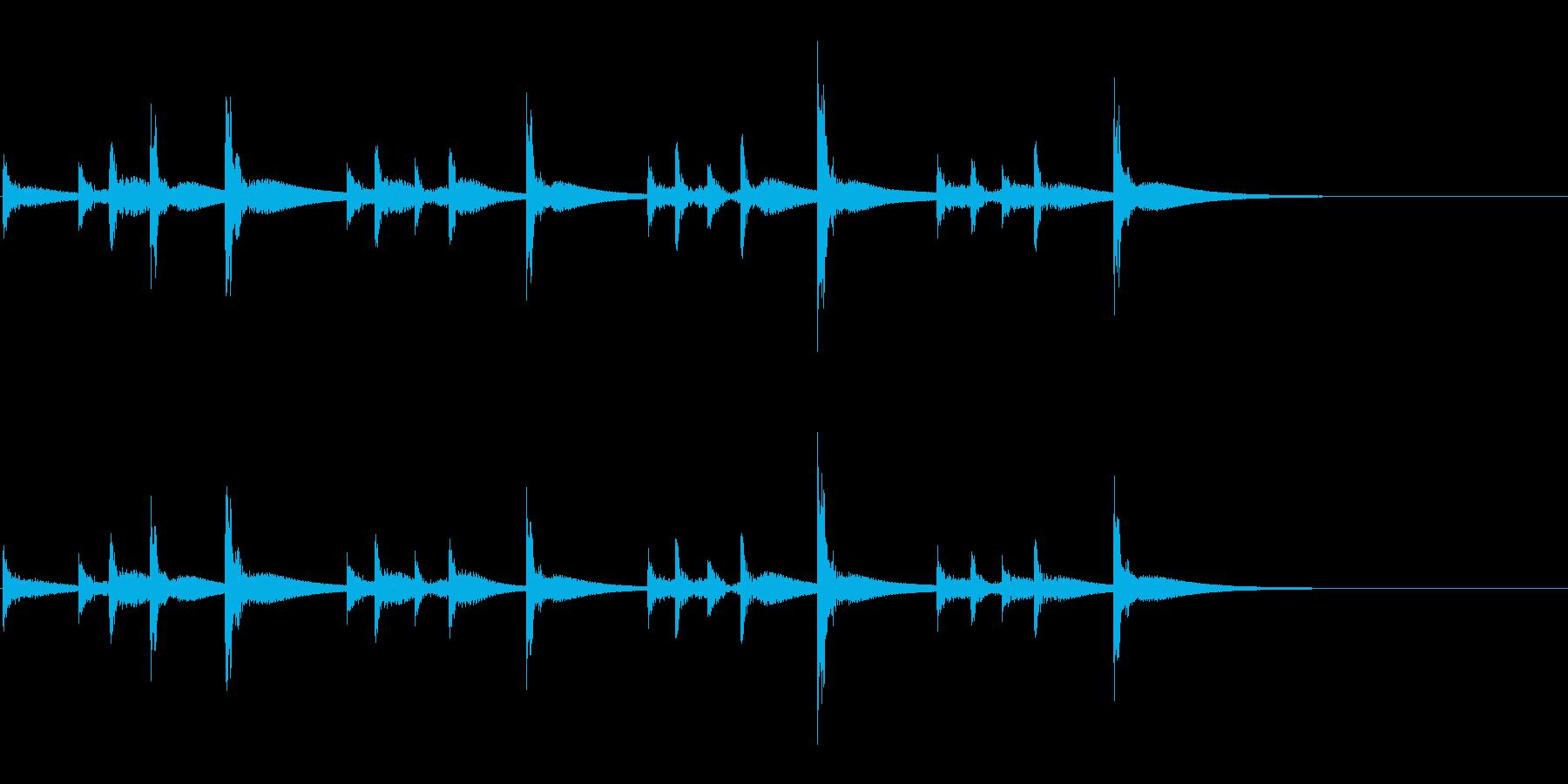 うちわ太皷のリズミカルなフレーズ音の再生済みの波形