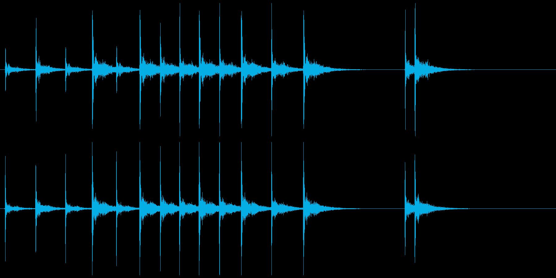 歌舞伎の立ち回り登場の付け打ちフレーズ音の再生済みの波形