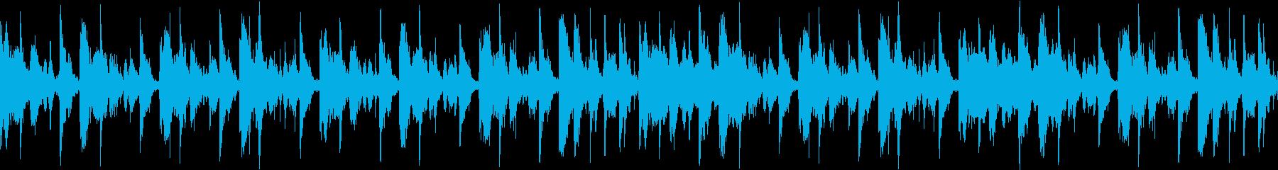 ドライなドラムサウンドのループ用BGMの再生済みの波形