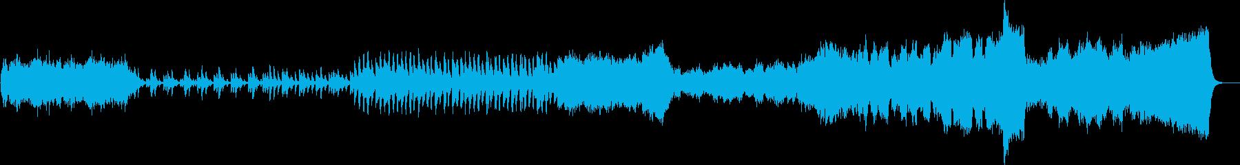 段々と音が積み重なっていく管弦楽曲の再生済みの波形